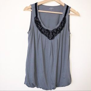 Loft Gray Beaded Neck Line Bubble Top S